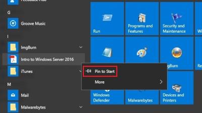 Pin to Start Menu Windows 10