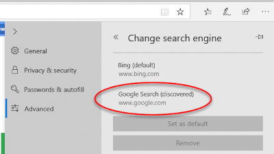 Change Default Search Engine in Edge