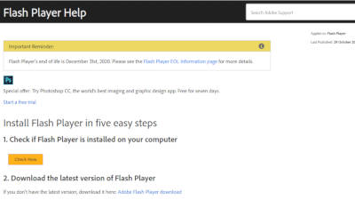 Adobe Flash Player Help announces end of life.